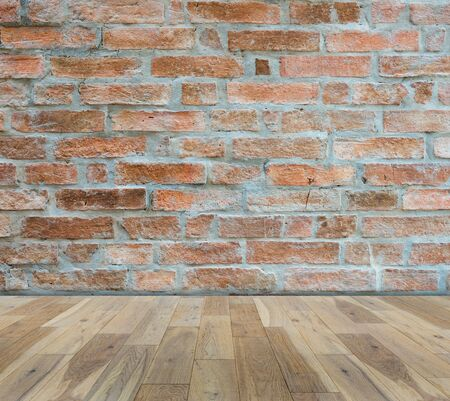 old wood floor: Old Brick wall with wood floor