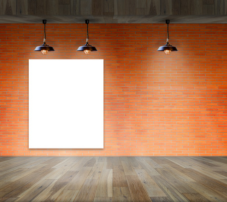 black empty board: Blank frame on brick wall and wood floor for information message