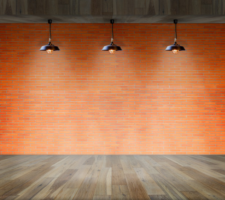 ceiling construction: Lamp at brick wall background with ground wood, Template for product display