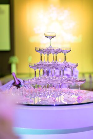 restaurant tables: Champagne glasses in Wedding ceremony, Tower of champagne glasses