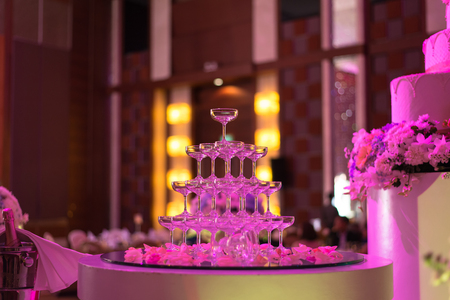 Champagne glasses in Wedding ceremony, Tower of champagne glasses
