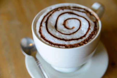 froth: Cup of cocoa with froth milk Stock Photo