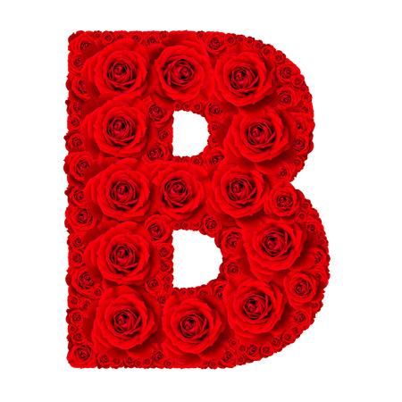 Rose alfabet set - Alfabet hoofdletter B gemaakt van rode roos bloesem geïsoleerd op een witte achtergrond