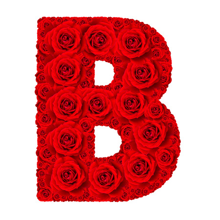Rose alphabet set - Alphabet capital letter B made from red rose blossoms isolated on white background
