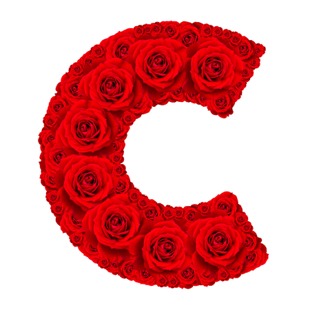 letter c: Rose alphabet set - Alphabet capital letter C made from red rose blossoms isolated on white background Stock Photo