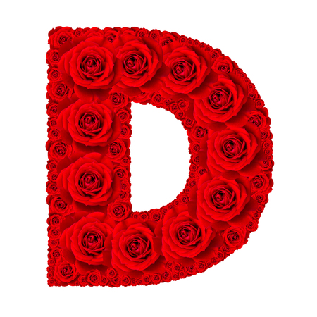 d: Rose alphabet set - Alphabet capital letter D made from red rose blossoms isolated on white background