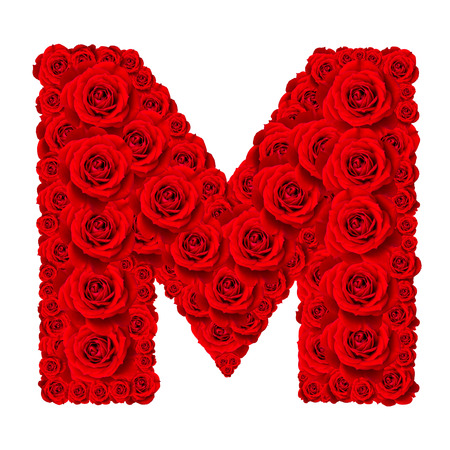 Rose alphabet set - Alphabet capital letter M made from red rose blossoms isolated on white background