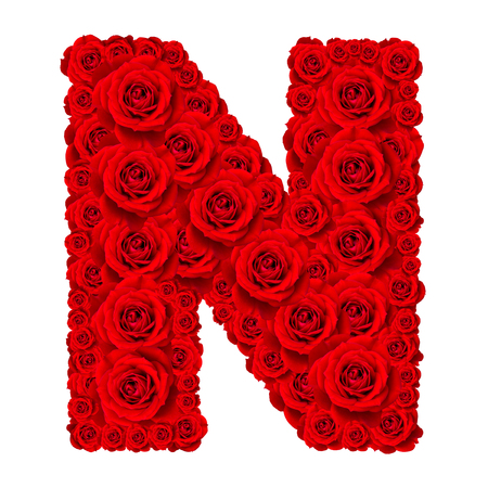 letter a z: Rose alphabet set - Alphabet capital letter N made from red rose blossoms isolated on white background Stock Photo