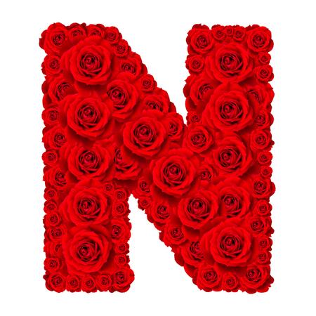 Rose-Alphabet-Set - Alphabet Großbuchstabe N aus rot aus Rosenblüten auf weißem Hintergrund Standard-Bild