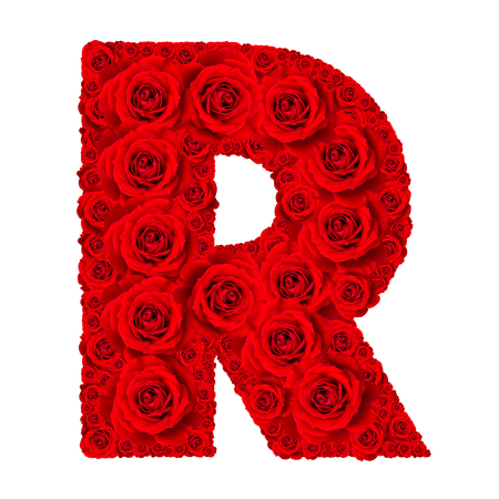 letter a z: Rose alphabet set - Alphabet capital letter R made from red rose blossoms isolated on white background