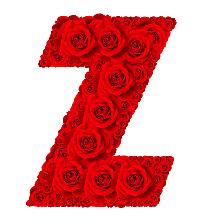 letter a z: Rose alphabet set - Alphabet capital letter Z made from red rose blossoms isolated on white background