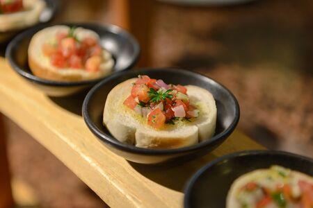 bruschetta: Pomodoro Bruschetta, Bruschetta topping with tomato, garlic and shallots
