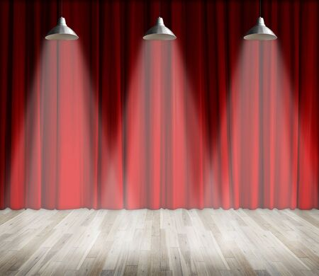 interior lighting: Background. Lamp with lighting on stage. Lamp with red curtain and wooden floor interior background. Interior template for product display, interior theater, interior stage background