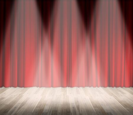 interior lighting: Background. lighting on stage. red curtain and wooden floor interior background. Interior template for product display, interior theater, interior stage background Stock Photo