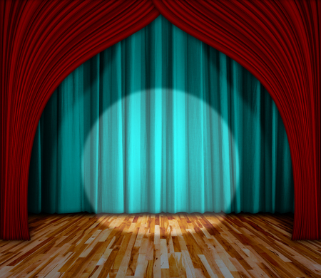 interior lighting: Background. lighting on stage. curtain and wooden floor interior background. Interior template for product display, interior theater, interior stage background Stock Photo