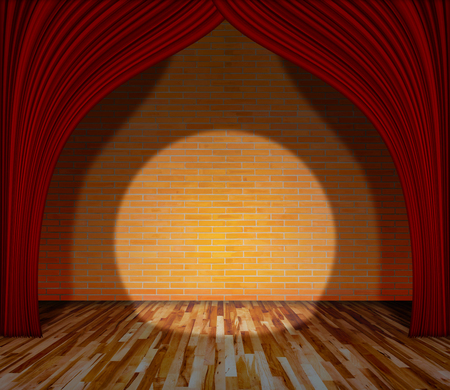 interior lighting: Red curtain in front of brick wall and wooden floor with lighting, Template for product display and copy space, interior theater, interior stage background