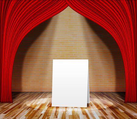 plafond: Poster standing on stage for information message. Interior template for product display, interior theater, interior stage background