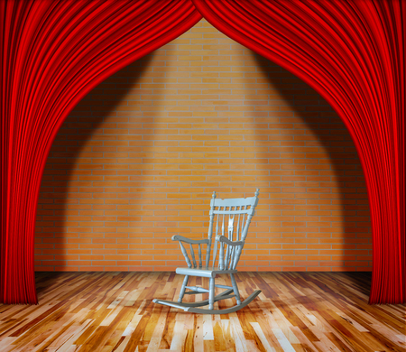 interior lighting: Rocking chair on stage.  red curtain in front of brick wall and wooden floor with lighting, interior theater, interior stage background
