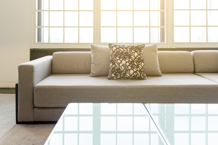 living room sofa: pillow on sofa in living room, interior Stock Photo