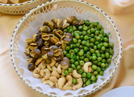 fava bean: Broad bean or fava bean, Peas and Cashews roasted with salty in basket
