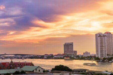 chao phraya: Cityscape of Bangkok with Chao Phraya river at evening time