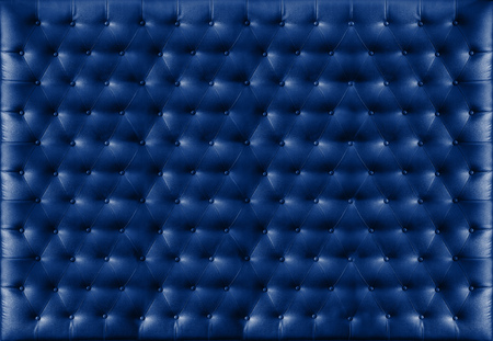 button tufted: Close up retro chesterfield style, Blue capitone textile background Stock Photo