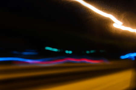 abstract motion lights of night traffic in the city