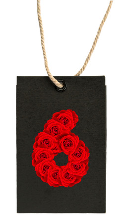 Red Roses numbers 6 on Paper labels (Tag) isolated on white background Standard-Bild