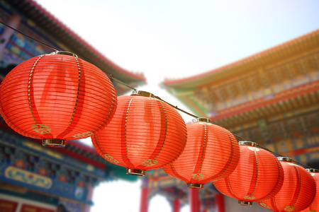 Red Chinese lanterns decoration for Chinese new year celebration