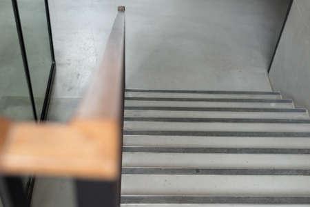 Modern wood handrail in the building - design / interior Banco de Imagens