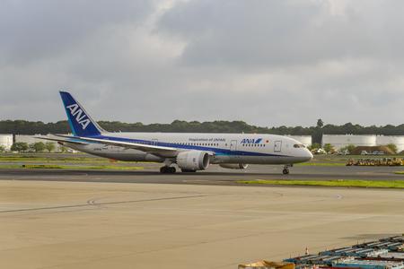 TOKYO - JULY 2018: All Nippon Airways (ANA) aircraft at Narita International Airport, Tokyo.