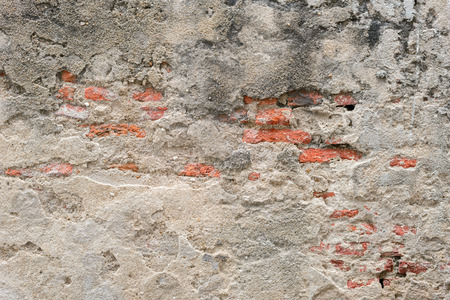 cracked concrete wall. empty old brick. background. Copy Space
