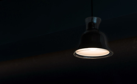 modern lamp hanging from the ceiling with copy space. Dark Tone 免版税图像