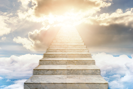 Stairway to heaven. Concept Religion background 版權商用圖片