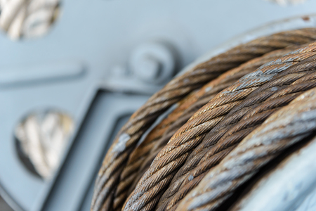 Wire rope sling or cable sling on on winch roll machine 写真素材