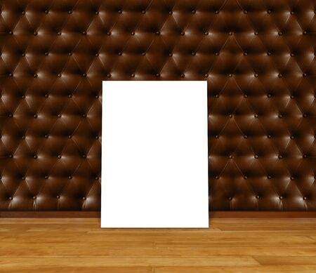 Poster standing on laminate flooring with retro upholstery wall. write text on paper for advertise or public relations