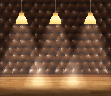 Empty room - retro upholstery wall with lamp and laminate flooring. User for background
