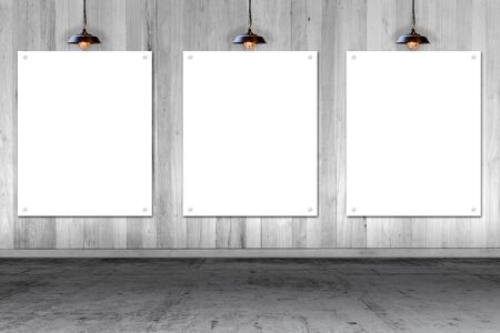 wooden wall with three white paper cards. write text on paper for advertise or public relations