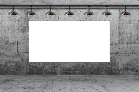 concrete wall with big white paper card and lamp. write text on paper for advertise or public relations