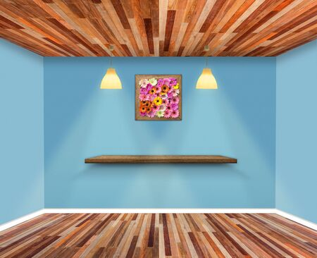 Shelf on wall in Show Room.  Wall and wooden floor interior background, Template for product display and copy space Zdjęcie Seryjne - 129254439