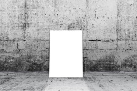 Poster standing next to concrete wall. write text on paper for advertise or public relations