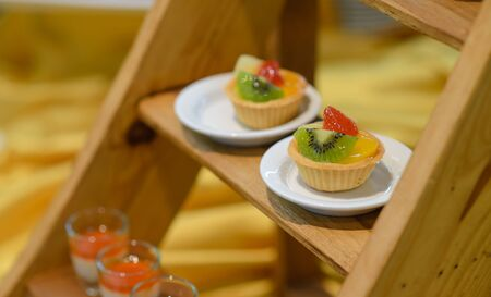 Fruit tart in cocktail party. appetizers food catering