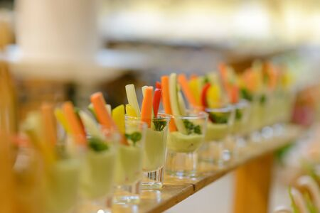 Chilled vegetable crudites with wasabi mayo. appetizers in cocktail party. food catering