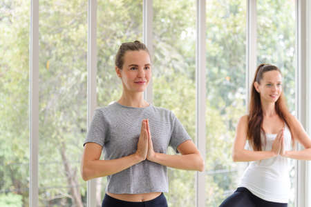Two young beautiful women practicing yoga lesson on yoga mat, meditating in living room at home. healthy lifestyle concept