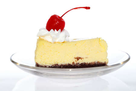 close up of a pice of cake toppig with red chery photo