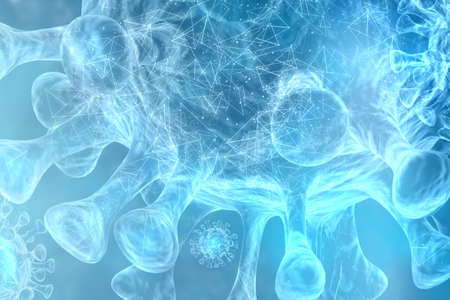 digital virus background 3d creates blue viruses as corona virus and digital threat lightning