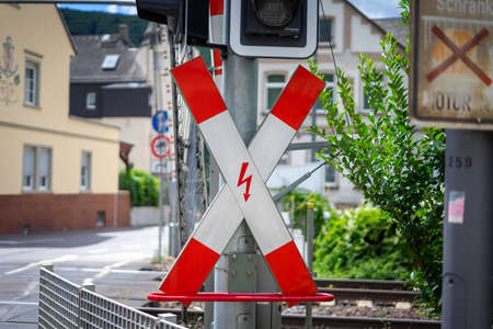 Saltire train crossing close-up. andreas cross warning symbol for level crossing in city