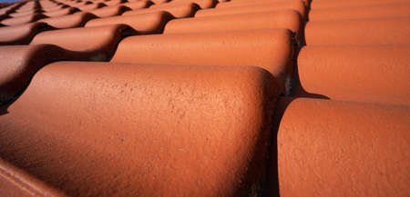red brown roof tiles texture on top