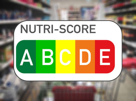 Nutri Score food labeling and food traffic light in a grocery store Stock Photo