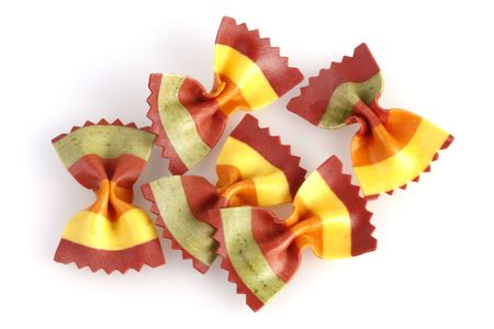 Colorful bow tie pasta with natural ingredients